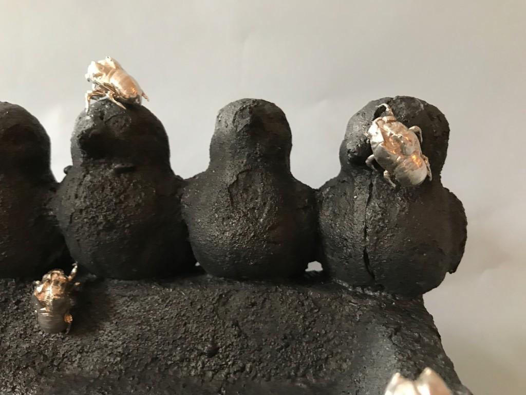 Birdbath with Cicadas - Night (detail)